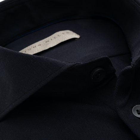Black slim fit hyperstretch shirt in textured fabric 5138296-290-000-000