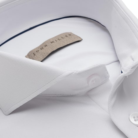 White slim fit hyperstretch shirt in textured fabric 5138296-910-000-000