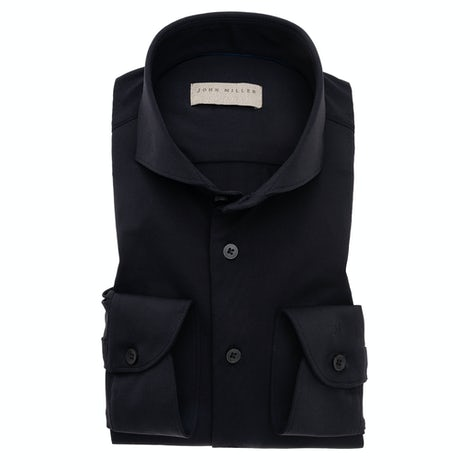 Black tailored fit hyperstretch shirt in textured fabric 5138297-290-000-000