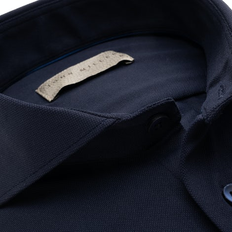 Dark blue slim fit hyperstretch shirt with extra long sleeves in textured fabric 5138298-190-000-000