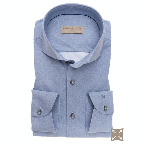 Jeans blue slim fit shirt in a structured  hyperstretch fabric 5138304-140-000-000