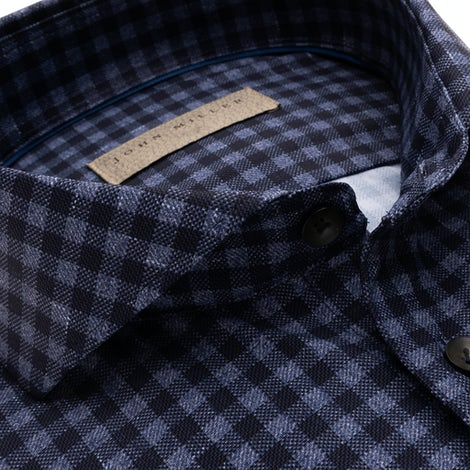 Dark blue checkered slim fit shirt in a hyper stretch fabric 5138312-170-000-000