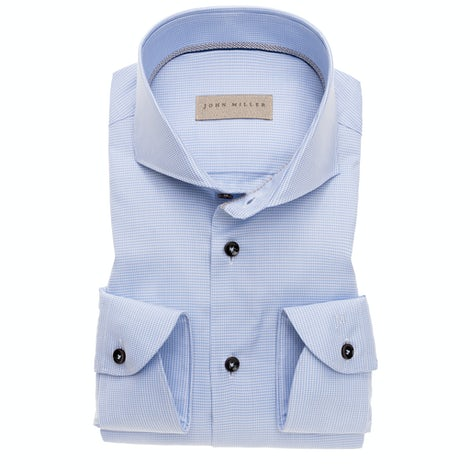 Light blue tailored fit shirt in a bio-cotton / lyocell stretch fabric 5138353-130-250-000
