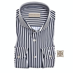 Donkerblauw streep hyperstretch tailored fit overhemd 5138716-190-000-000