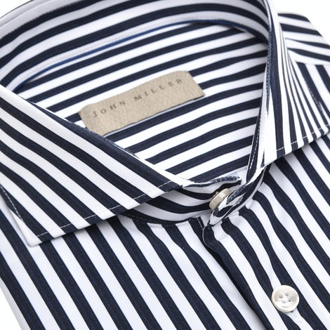 Dark blue stripe hyperstretch tailored fit shirt 5138716-190-000-000
