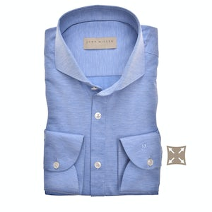 Middenblauw hyperstretch tailored fit overhemd met extra lange mouw 5138724-160-000-000