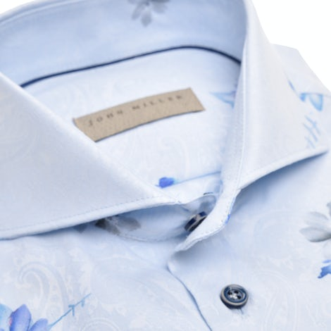 Light blue tailored fit print shirt, in an extra long sleeve. 5139042-140-000-000