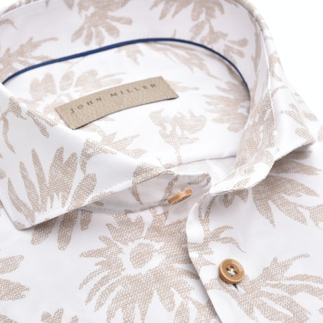 Beige print, non iron,  tailored fit shirt 5139064-630-000-000