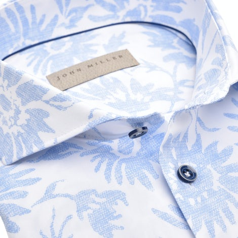 Light blue print, non-iron, tailored fit shirt, in an extra long sleeve. 5139066-130-000-000