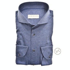 Donkerblauw tricot tailored fit overhemd met extra lange mouw 5139124-160-000-000