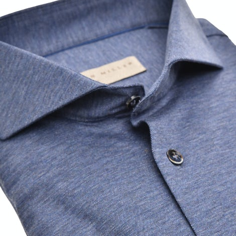 Dark blue tricot tailored fit shirt with extra long sleeves 5139124-160-000-000