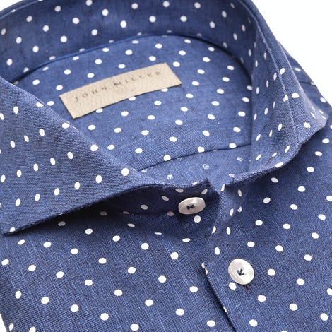 Dark blue print tailored fit shirt 5139189-180-000-000
