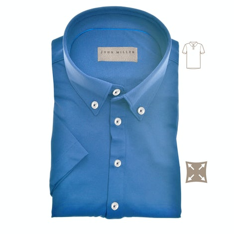 Lichtblauw hyperstretch slim fit polo met korte mouw 5139258-140-000-000