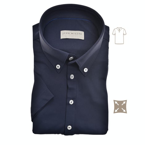 Dark blue hyperstretch slim fit polo with short sleeves 5139258-190-000-000