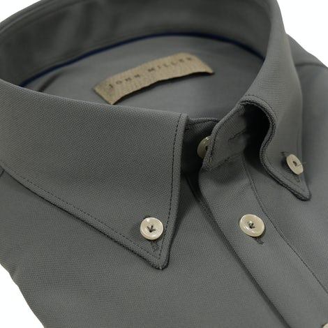 Greige hyperstretch slim fit polo with short sleeves 5139258-260-000-000