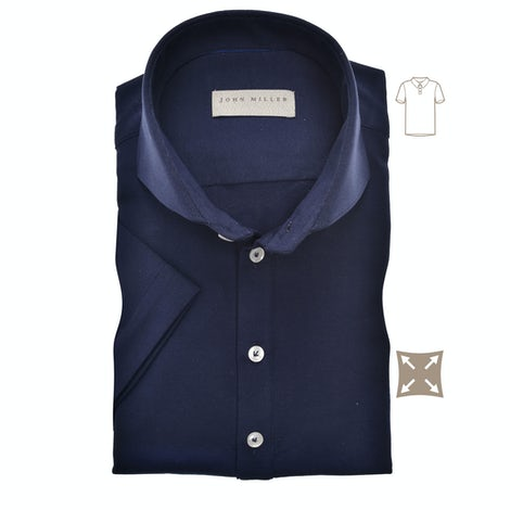 Dark blue slim fit stretch polo shirt with short sleeves 5139275-190-000-000