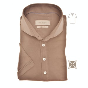 Taupe slim fit stretch polo shirt with short sleeves 5139275-620-000-000