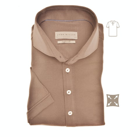 Taupe slim fit stretch polo met korte mouw 5139275-620-000-000