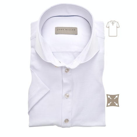 White slim fit stretch polo shirt with short sleeves 5139275-910-000-000