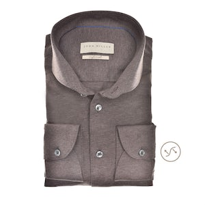 Donkerbruin tricot slim fit overhemd in extra lange mouw 5139364-680-000-000