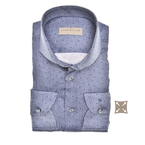 Blauw tailored fit stretch overhemd in extra lange mouw 5139374-180-000-000