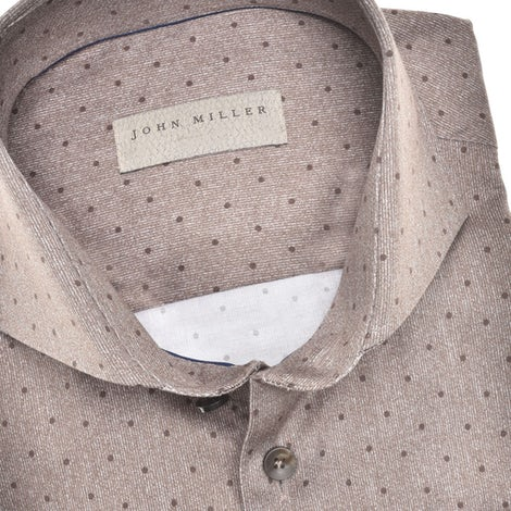 Bruin tailored fit stretch overhemd in extra lange mouw 5139374-680-000-000