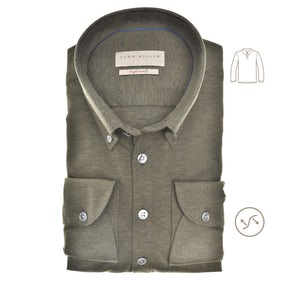 Donkergroen tricot slim fit polo shirt 5139511-580-000-000