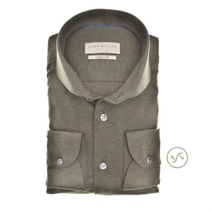 Donkergroen slim fit tricot overhemd in extra lange mouw 5139517-580-000-000