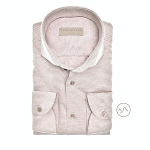 Beige tricot slim fit overhemd in extra lange mouw 5139617-630-000-000