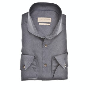 Donkerblauw Tailored Fit easy care print overhemd 5139652-180-180-000