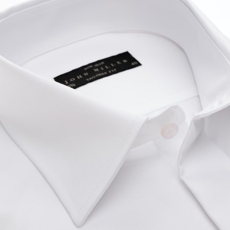 White non-iron tailored fit shirt with blind closure 5335588-910-000-000