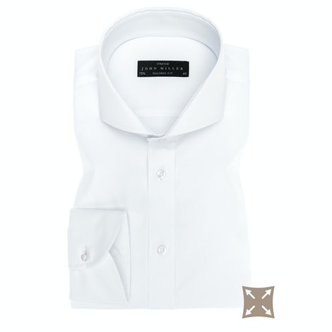 White stretch tailored fit shirt 5336512-910-000-000