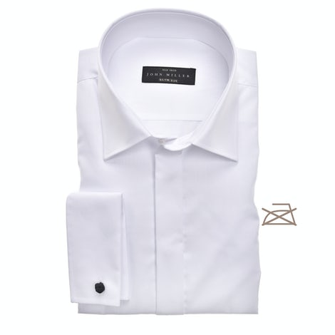 White non-iron slim fit shirt with blind closure 5345518-910-000-000